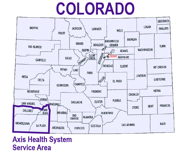 Map of Axis service area in Colorado